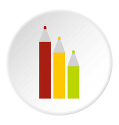 three colored pencils icon flat style vector image