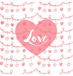 Valentines card with heart and lovw text in pink vector