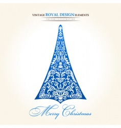 vintage Christmas tree blue vector image