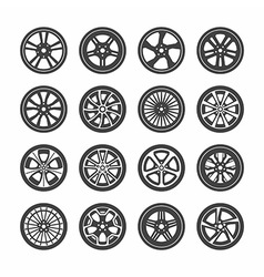 Wheels icons set vector image vector image