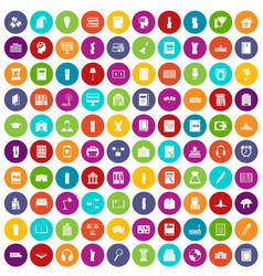 100 library icons set color vector