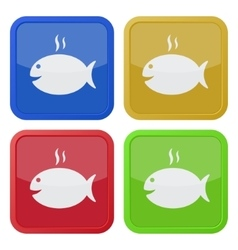 Set of four square icons - grilling fish and smoke vector