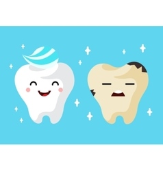 Healthy and unhealthy sad tooth cartoon characters vector