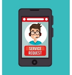 Guy operator call center service request online vector