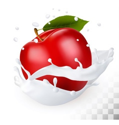 Red apple in a milk splash on a transparent vector