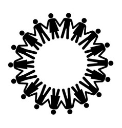 black silhouette teamwork human people circle vector image