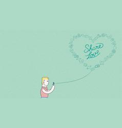 Man online on phone for social media love design vector