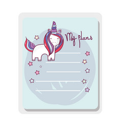Cute card unicorn with mane long vector