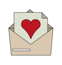 color image envelope mail with heart vector image