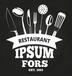 vintage restaurant label or badge on blackboard vector image
