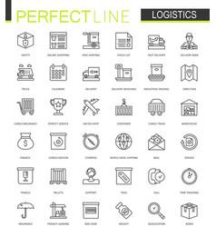Logistics thin line web icons set transportation vector