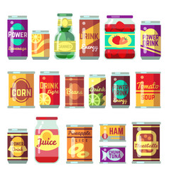 Canned goods set tinned food conservation vector