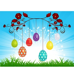 Dangling easter eggs on blue sky landscape vector