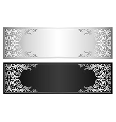 Silver and black voucher with victorian pattern vector
