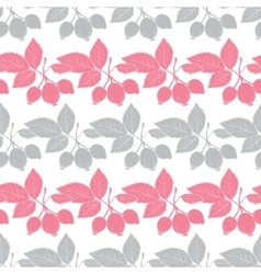 Gray pink rosehip berries stripes seamless vector
