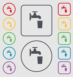 Faucet glass water icon sign symbol on the round vector