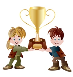 Kids holding trophy vector