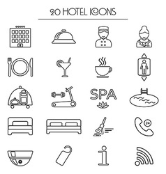 Set of icons of linear hotel service isolated vector