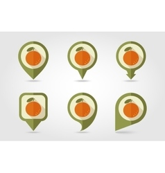 Orange mapping pins icons vector