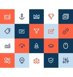Seo and optimization icons flat style vector