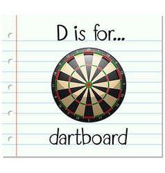 Flashcard letter d is for dartboard vector