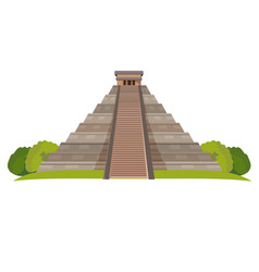 aztec pyramid with green bushes at base isolated vector image
