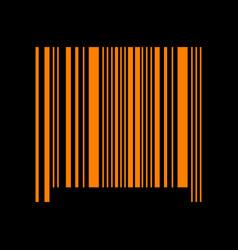 Bar code sign orange icon on black background vector
