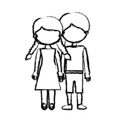 Blurred black contour faceless couple girl with vector