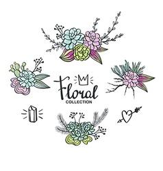 Boho wedding succulents decoration floral set vector