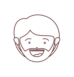 Brown color contour of smiling face of man with vector