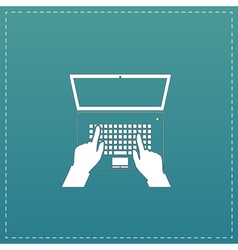 Business hands on notebook computer keyboard with vector