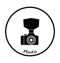 Camera with fashion flash icon vector image