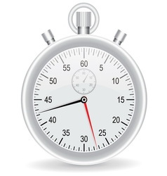 Clock watch metallic on white background vector