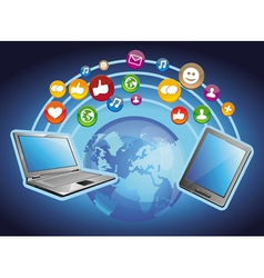 concept - mobile computers and social media vector image