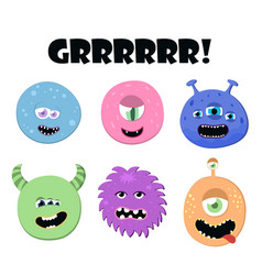 Cute cartoon round monsters set collection of vector