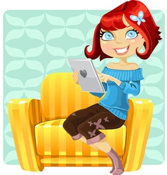 cute redhaired girl vector image