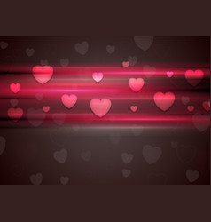 Dark pink glowing stripes and hearts background vector