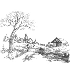 early spring landscape vector image