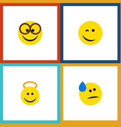 Flat icon expression set of winking tears angel vector