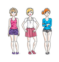 Happy young adult girls female standing wearing vector