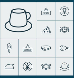 Icons set collection of board sorbet closed vector