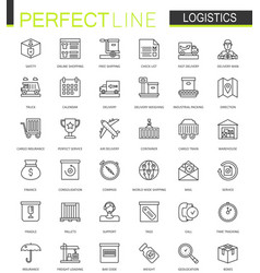 Logistics thin line web icons set transportation vector