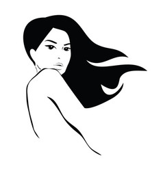 Long black hair beauty icon vector