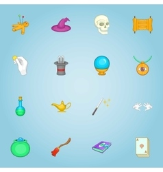 Magic icons set cartoon style vector image vector image