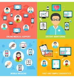 Mobile health icons set flat vector