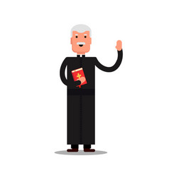 pastor character standing with bible isolated on vector image