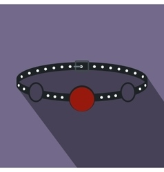 Red ball gag with a belt icon flat style vector