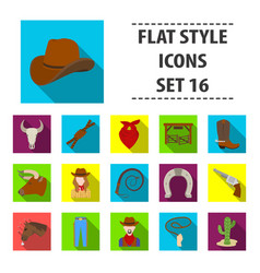 Rodeo set icons in flat style big collection of vector