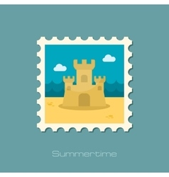 Sand castle flat stamp vector