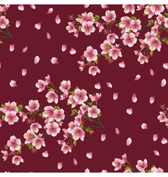 Seamless background texture with branch of cherry vector image vector image